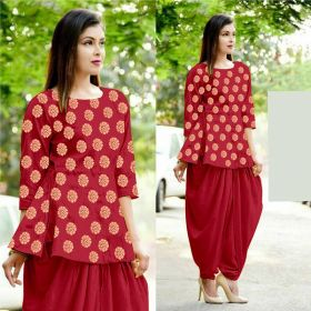 Red Heavy Cotton Jacquard Traditional Kurti For Womens
