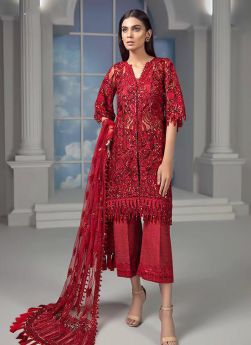 Red Net Designer Pakistani Suit For Party