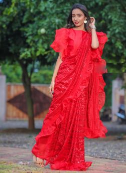 Red Sequence Embroidery Designer Saree