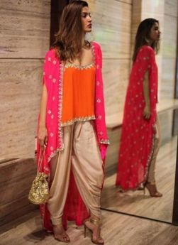 Satin And Georgette Orange Dhoti Style Dress With Shrug