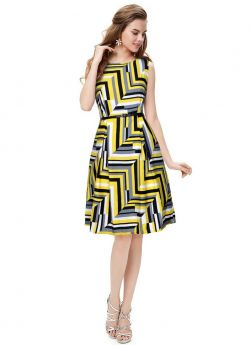Summer Collection Crepe Yellow Western Wear Dress For Women