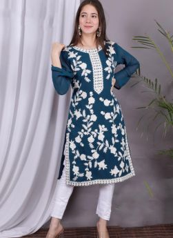 Teal Blue Round Neck Embroidery Kurti