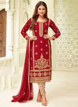 Traditional Red Straight Cut Suit