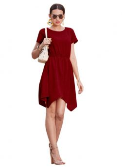 Us Polo (Imported) Cap Sleeve Maroon Latest Western Dress Designs For Girls