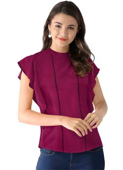 Wine Butterfly Sleeves American Crepe Collar Neck Top For Women