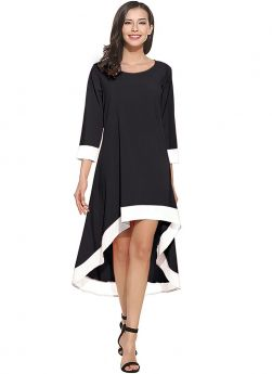 Women Black Solid 3-4Th Sleeve Up Down Fit And Flare Dress
