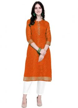 Women Orange Doria Silk Traditional Kurti