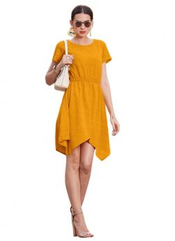 Yellow Cap Sleeve Us Polo (Imported) Western Dress For Girls