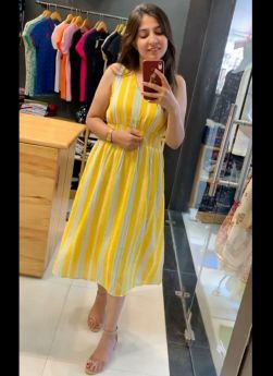 Yellow Lining Printed Western For Girls
